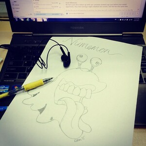 Stuff to get rid of stress at work. Music and sketch! Childhood memory, my favorite, Numemon 💩